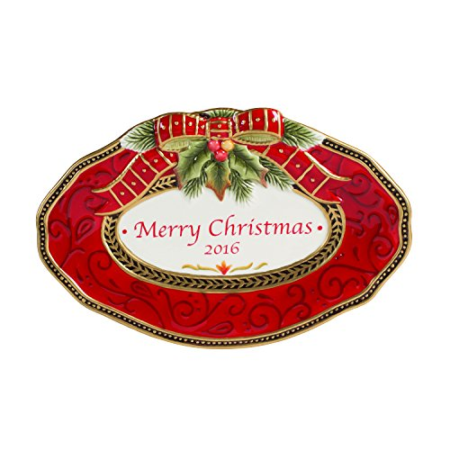 Fitz and Floyd Damask Holiday Collection 2016 Collector's Plate, Vintage Red & Gold by Fitz and Floyd