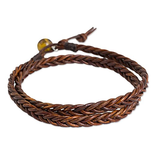 NOVICA Tiger's Eye Braided Leather Men's Wrap Bracelet, 16.5