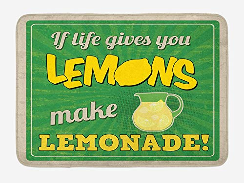 Quote Bath Mat, Vintage Pop Art Advertising Design If Life Gives You Lemon Make Lemonade, Plush Bathroom Decor Mat with Non Slip Backing, 23.6 W X 15.7 W Inches, Green Yellow and Tan]()