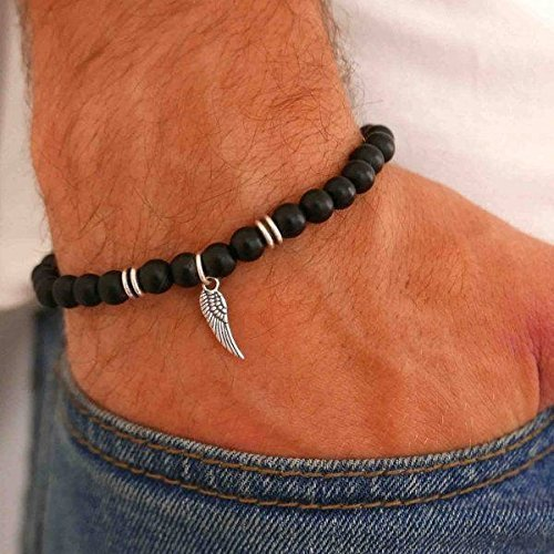 - Handmade Strech Bracelet For men Set With Onyx Gemstone Beads and Silver Plated Wing Pendant By Galis Jewelry - Beaded Bracelet For Men - Gemstone Bracelet For Men