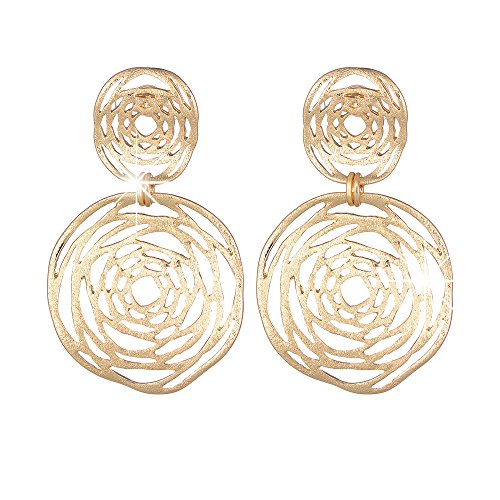 XZP Sterling Silver Pin Hollow Out Flower Pendant Women Drop Earring 14k Gold Plated Fashion Filigree Jewelry Metal Dangle Earring(Gold)