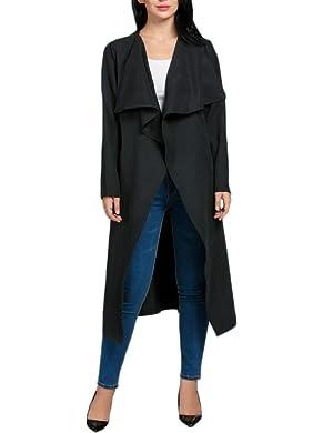 OURS Women Long Sleeve Windbreaker Draped Open Front Tunic Jacket Long Trench Coat