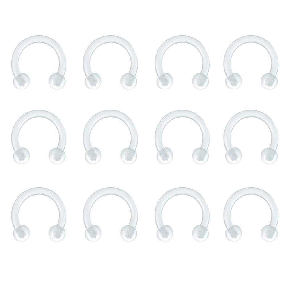 D.Bella 12Pcs 16G Horseshoe Clear Boiflex Nose Rings Hoop Lip Eyebrow Retainer Fake Nose Septum Cartilage Earrings Ring Piercing Retainer Z-Horseshoe-Clear