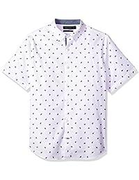 Men's Short Sleeve Slim Fit Signature Print Button Down...