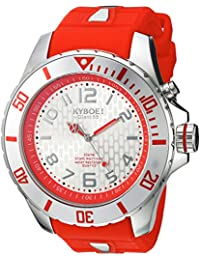 KYBOE! Power Quartz Stainless Steel and Silicone Casual Watch, Color:Red