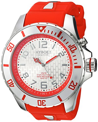 KYBOE! 'Power' Quartz Stainless Steel and Silicone Casual Watch, Color:Red (Model: KY.55-029.15)