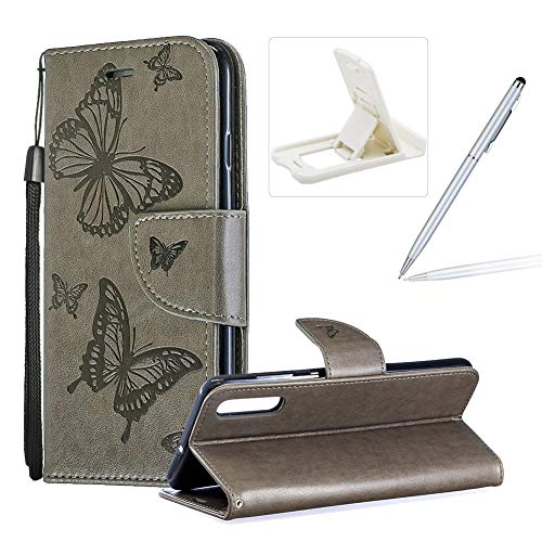 Price comparison product image Strap Leather Case for Galaxy A70, Wallet Cover for Galaxy A70, Herzzer Elegant Grey Butterfly Print Relief Magnetic Stand Case with Soft TPU