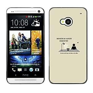 LECELL--Funda protectora / Cubierta / Piel For HTC One M7 -- Salud y Seguridad Ejecutiva divertido --