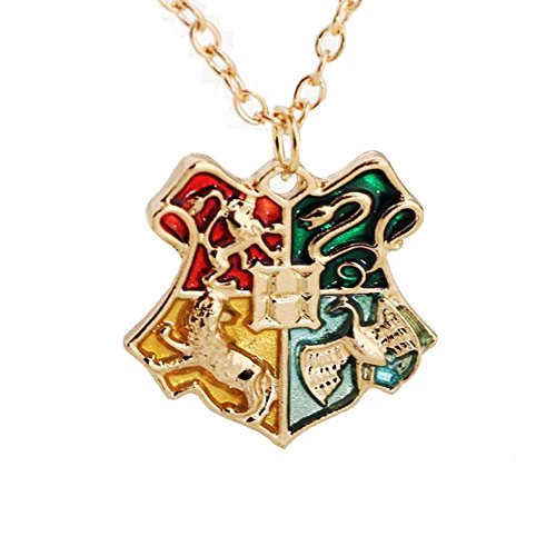 Harry Potter Hogwarts House Crest Necklace - Gold (Hogwarts School Uniform)