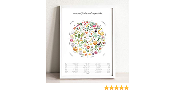 Amazon Com Seasonal Fruits Vegetables Art Print 18 X 24 In Handmade