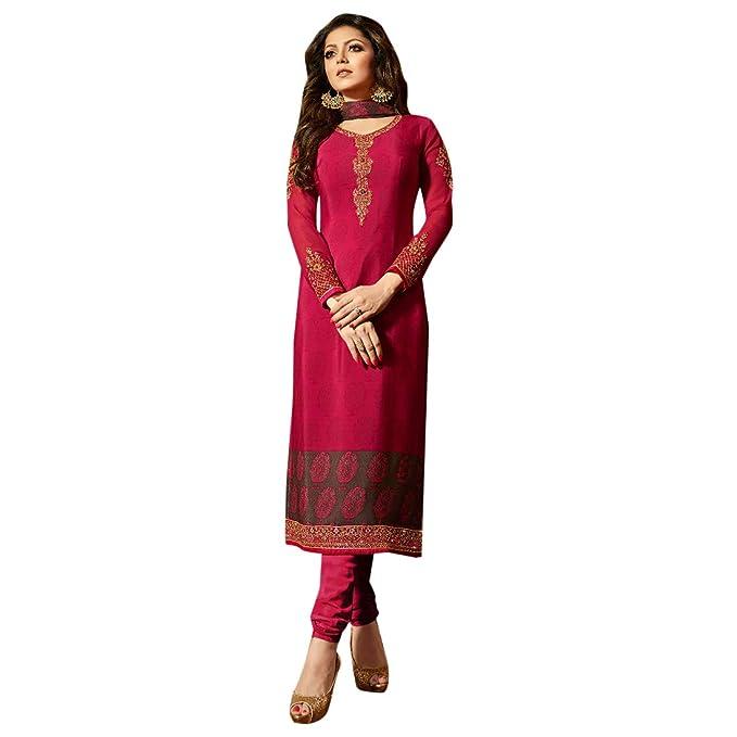 b7164279c3 Hot Pink Ethnic Georgette Straight Salwar Kameez Churidar Dupatta Suit  Muslim Pakistani Hit: Amazon.in: Clothing & Accessories