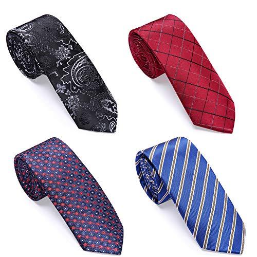 AUSKY 4 PACKS Skinny Necktie Ties for Men Boys,Great for Weddings, Groom, Groomsmen, Missions, Dances, Gifts.