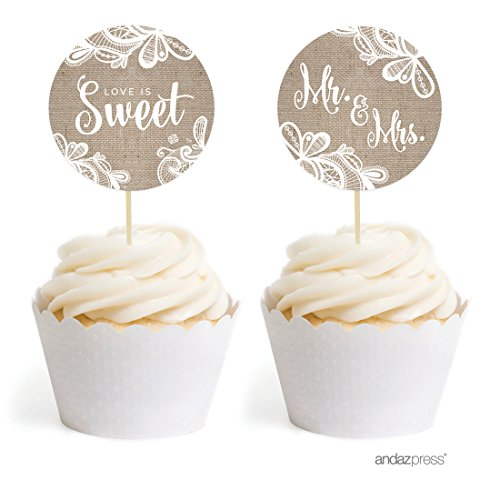 ace Wedding Collection, Cupcake Topper DIY Party Favors Kit, 20-Pack (Wedding Cake Design Circle)