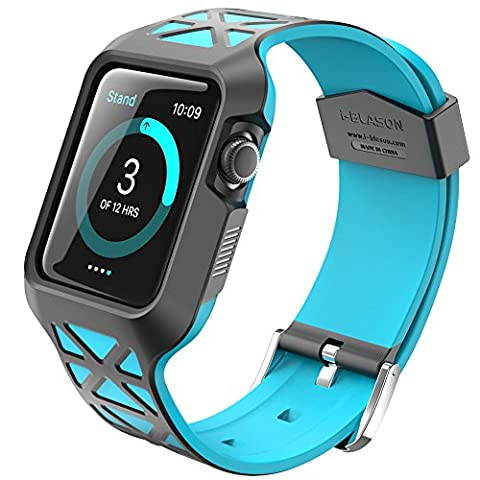 Apple Watch 2 Case, i-Blason Unity Series Premium Protective Bumper Protective Case [Updated Version] for Apple Watch 42 mm 2016 Release [Compatible with Apple Watch 42 mmFirst Generation] (Blue)
