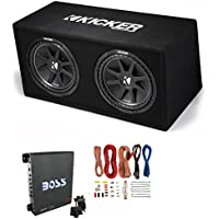 KICKER DC12 DUAL 12 600W Loaded Car Audio Subwoofers Subs+Box+Amplifier+Amp Kit