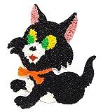 Vintage Melted Plastic Popcorn Black Halloween Kitty Cat Decoration