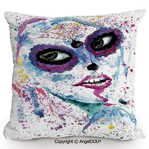 AngelDOU Living Room Pillow Pillowcase Customization 15.7x15.7 Inch Grunge Halloween Lady with Sugar Skull Make Up Creepy Dead Face Gothic Woman Artsy for Hotel Bar Cafe Living Room Sofa Office. -