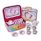 Lucy Locket Magical Unicorn Kids Metal Tea Set & Carry Case (14 Piece Tea Set for Kids)