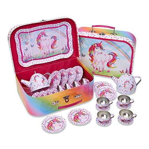 Lucy Locket Magical Unicorn Kids Metal Tea Set & Carry Case (14 Piece Tea Set for Kids)
