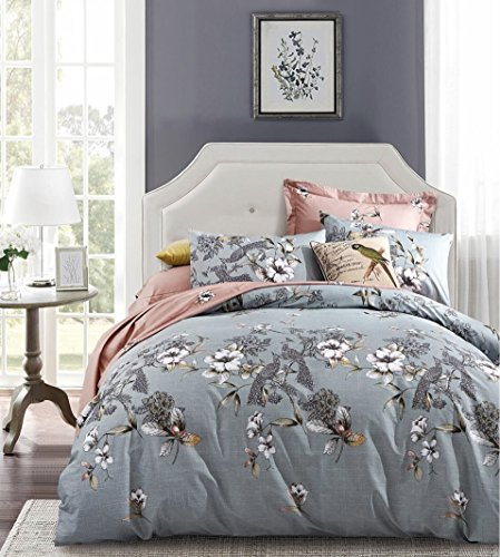 Exotic Modern Floral Print Bedding Birds Flowers Dusty Grey Design 100% Cotton Duvet Cover 3pc Set Hibiscus Blossom Branches in Muted Gray Blue (King, Grey, Blue, Dusty Blue, Denim, Pink, Gray)