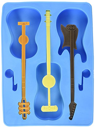(Generic FON-10023-ALT1 Guitar Ice Cube Tray with 3 Stirrers, Blue, One Size,)