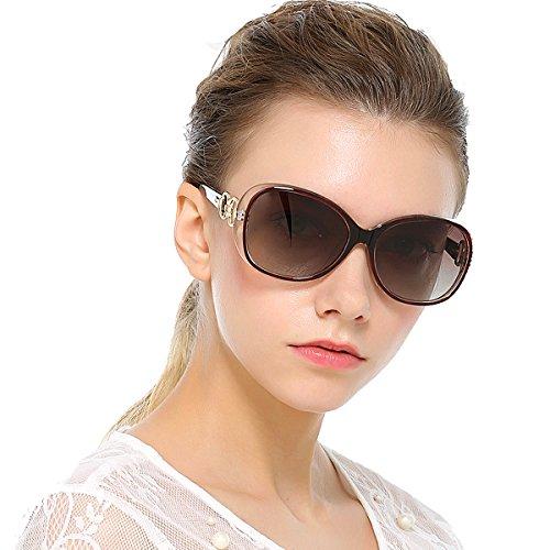 VeBrellen Luxury Transparent Women's Polarized Sunglasses Retro Eyewear Oversized Square Frame Goggles Eyeglasses (Transport Frame With Dark Brown Lens, 60) by VeBrellen (Image #2)