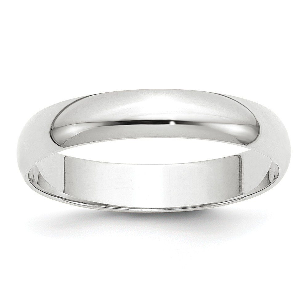 Jewelry Stores Network Solid 10k White Gold 4 mm Rounded Wedding Band Ring