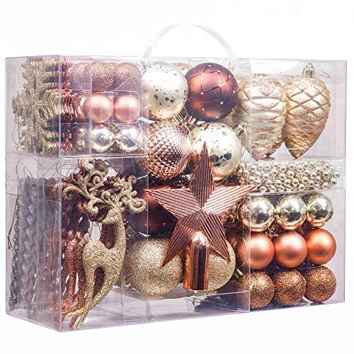 Valery Madelyn 100 Piezas Bolas de Navidad de 3-8cm, Adornos Navideños para Arbol, Decoración de Bolas de Navidad Inastillable Plástico de Cobre y Dorado, Regalos de Colgantes de Navidad (Bosque)