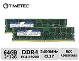 Timetec 64GB KIT(2x32GB) DDR4 2400MHz PC4-19200 Registered ECC 1.2V CL17 2Rx4 Dual Rank 288 Pin RDIMM Server Memory Ram Module Upgrade (64GB KIT(2x32GB))