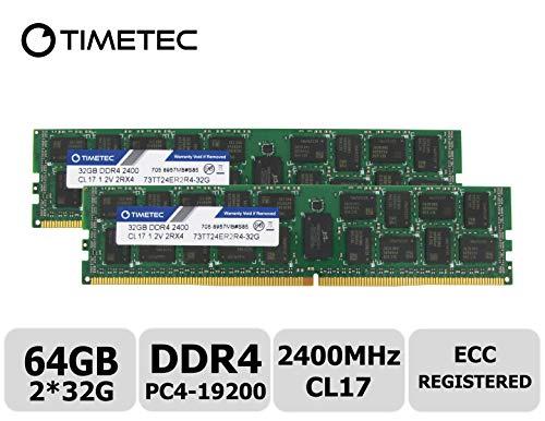 (Timetec 64GB KIT(2x32GB) DDR4 2400MHz PC4-19200 Registered ECC 1.2V CL17 2Rx4 Dual Rank 288 Pin RDIMM Server Memory Ram Module Upgrade (64GB KIT(2x32GB)))
