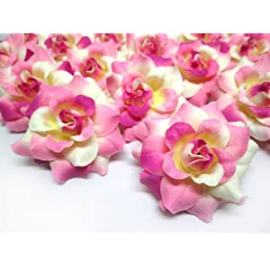 "(24) Silk Ivory Pink Roses Flower Head - 1.75"" - Artificial Flowers Heads Fabric Floral Supplies Wholesale Lot for Wedding Flowers Accessories Make Bridal Hair Clips Headbands Dress 119"