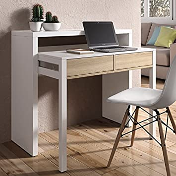 mesa escritorio desplazante blanco brillo y roble para estudio oficina o habitacion cm
