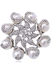 Silver Tone Crystal Rhinestone Faux Pearl Flower Swirl Wreath Fashion Pin Brooch