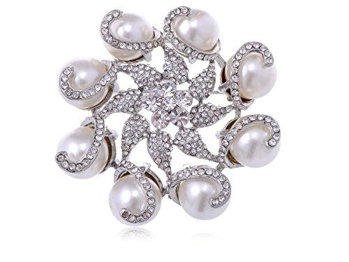Alilang Silvery Tone Crystal Rhinestone Faux Pearl Flower Swirl Wreath Fashion Pin Brooch