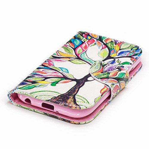 Yiizy LG K3 (2017) Custodia Cover, Alberi Colorati Design Sottile Flip Portafoglio PU Pelle Cuoio Copertura Shell Case Slot Schede Cavalletto Stile Libro Bumper Protettivo Borsa
