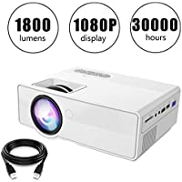 Projector, YZtree 1080P Video Projector with 1800 Lumens for Home Cinema Theater Support AV HDMI USB TF VGA(White)