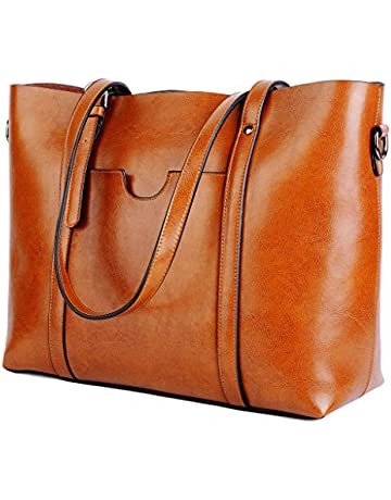 522e6f8df87 YALUXE Women s Vintage Style Soft Leather Work Tote Large Shoulder Bag