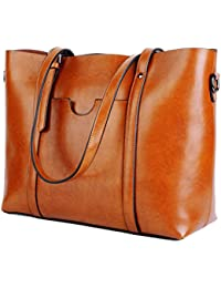 Women's Vintage Style Soft Leather Work Tote Large...