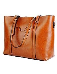 Yaluxe Women's Top Grain Genuine Leather Top Handle Handbag Shoulder Bag Soft Hobo Belt Accent
