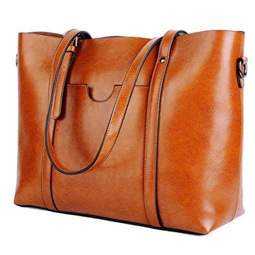 YALUXE Genuine Leather Womens Tote Work Vintage Style Soft Large Shoulder Bag Double Handle Shopper Tote