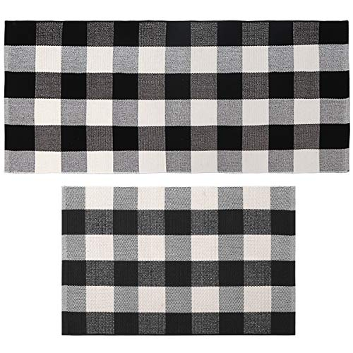 Seavish Cotton Buffalo Checkered Rug,2 Piece Set Black and White Plaid Rug Handmade Moven Runner Doormat Includes 2'x3' & 2'x4.4' Size,Machine Washable Carpet Welcome Mat for Outdoor/Porch/Entry Way