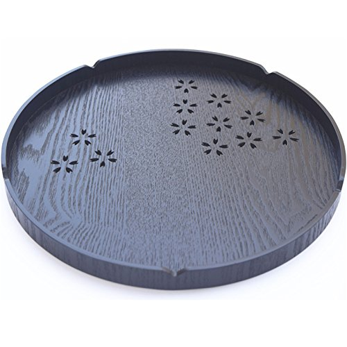 KathShop Japan Style Eco-Friendly Wooden Tea Tray Round Shape Hollow Kungfu Tea Plate Tea Board Puer Storage Container 302 cm 1 Piece