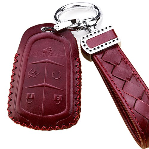 black REGEM Leather Car Remote Key Holder Case Cover For CADILLAC XT 5 ATS CT6 XTS SRX Escalade GTS black coffee 5 Button