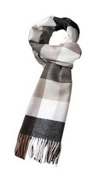 8014bb71f Mens Fashion Classic Scarf Black Beige Gray Checkered Style Scarf Gift For  Lover at Amazon Men's Clothing store: