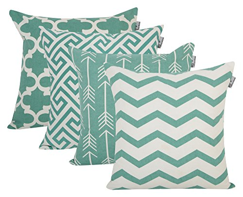 Accent Home Cotton Canvas Throw Cushion Cover Printed Both Side For Home Sofa Couch, Chair Back Seat,4pc pack 18x18