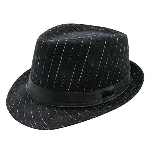 (PanPacSight Men' s Felt Trilby Cap Pinstripe Short Brim Woolen Fedora Crushable Cuban Spring Jazz Hat Black)