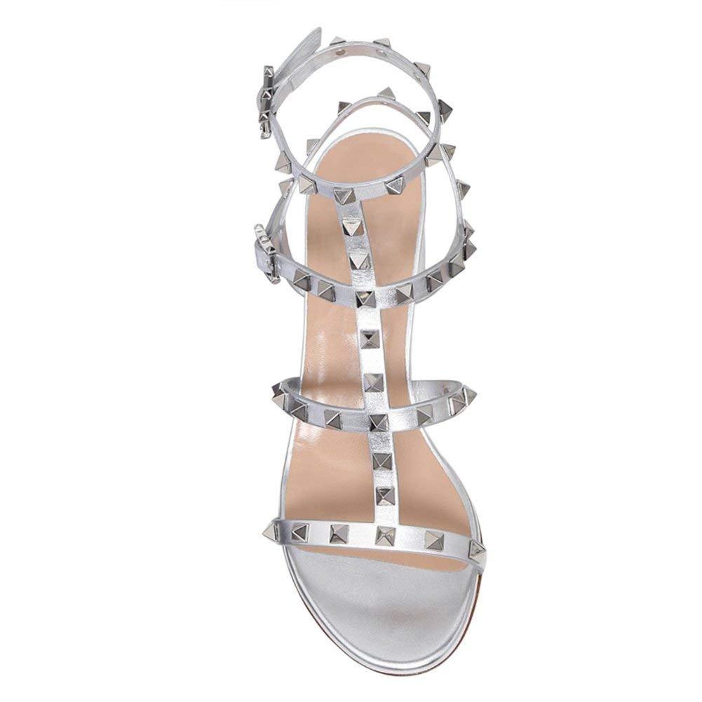 Chris-T Chunky Heels for Womens Studded Slipper Low Block Heel Sandals Open Toe Slide Studs Dress Pumps Sandals 5-14 US B07FFRCJQ9 12 B(M) US|Silver/5cm/Slingback