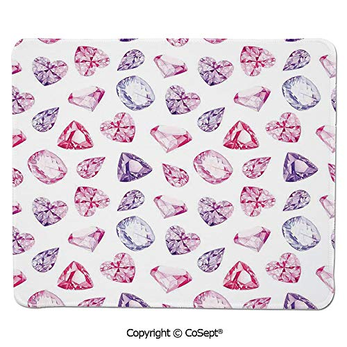 "Mouse Pad,Amethyst Heart and Triangle Shaped Diamonds Hanging Digital Prints Art Decorative,for Computer,Laptop,Home,Office & Travel(7.87"" x 9.44""),Pink Purple"