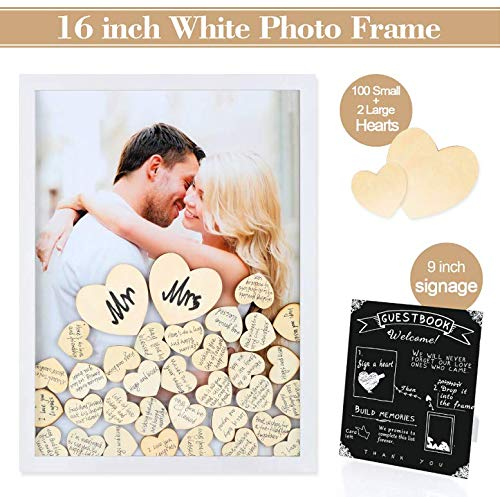 Ringig Wedding Guest Book Alternative with 100 Wooden Hearts and Sign Please Sign A Heart Drop Top Frame