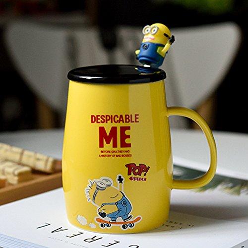 (YOURNELO Cartoon Cute Minions Ceramic Coffee Milk Tea Water Cup Mug with Lid Gift)